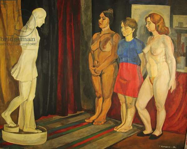 Three Women and Antique Sculpture, 1978 (gouache on paper)