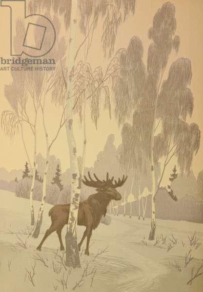 Elk, 1958 (linocut)