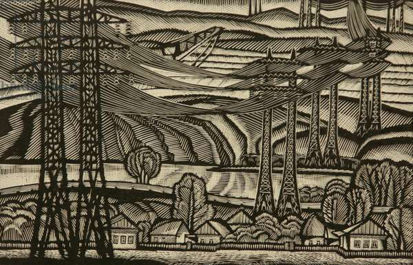 Electricity Cables. Kursk Magnetic Anomaly, 1967 (linocut)