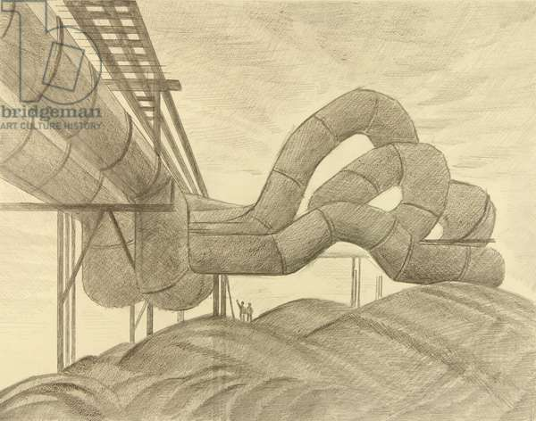 Pipes at KAMAZ, 1986 (pencil on paper)