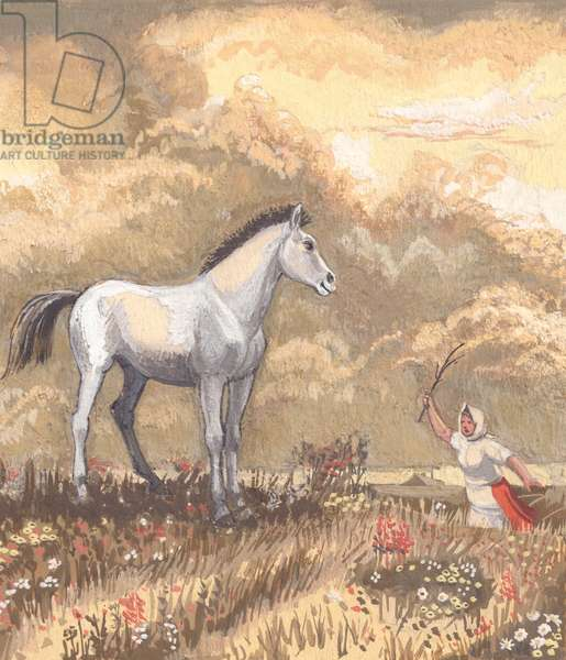 Horse, illustration from 'Summer at the Kolkhoz', 1950s (gouache on paper)