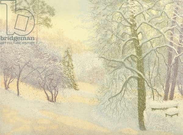 Winter in Chelyuskinskaya, 2014 (etching)