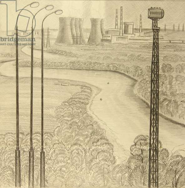 Novovoronezh Nuclear Plant on the Don River, 1960 (pencil on paper)