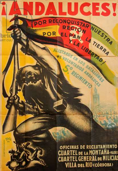 Andalucians! Free Our Region. For Bread, Land and Freedom!, 1936 (colour litho)