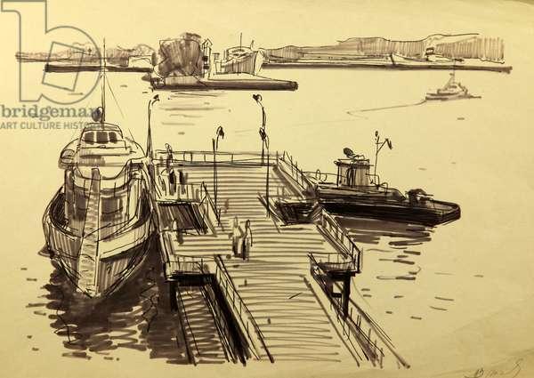 The Port in Kandalaksha, 1952 (tempera on paper)