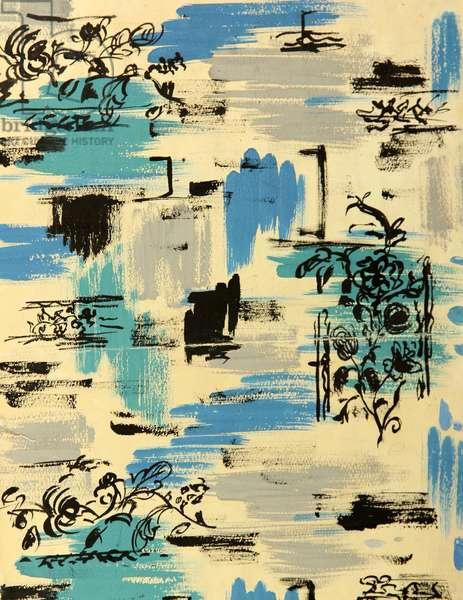 Textile Design, 1972 (gouache on paper)