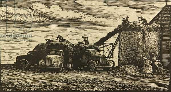 Siloing, 1957 (linocut)