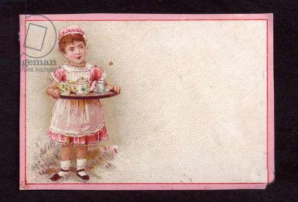 Girl with a tea tray, 1900s (colour litho)