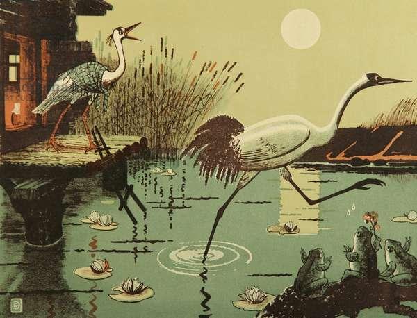 The Crane and the Heron, 1959 (colour litho)