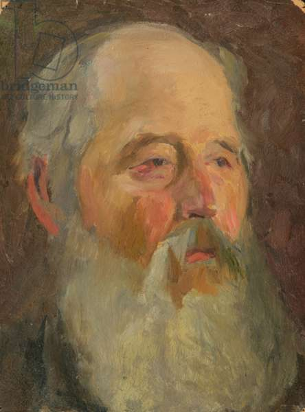 Portrait of an Old Russian Muzhik, 1950s (oil on card)