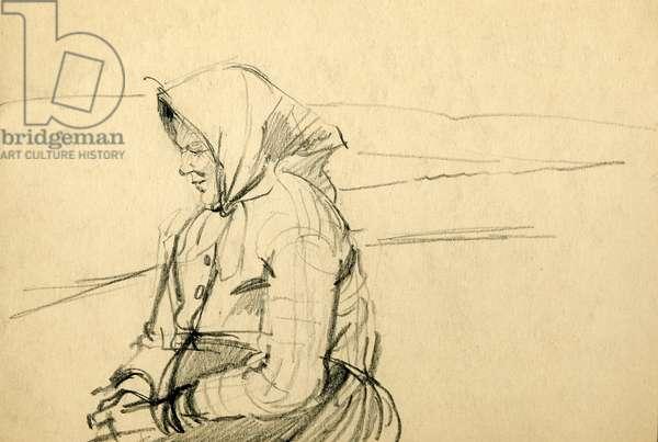 Kolkhoz Woman, 1945 (pencil on paper)