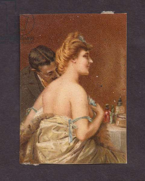 Gentleman and topless lady, 1900s (colour litho)