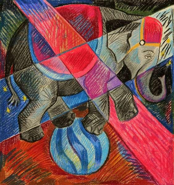 Elephant Balancing on Ball, 1980 (pastel on paper)