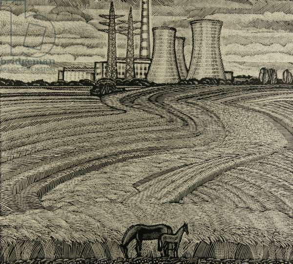 Horses and Industrial Landscape, 1979 (linocut)