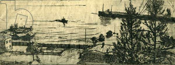 Lake Baikal, 1954 (etching)