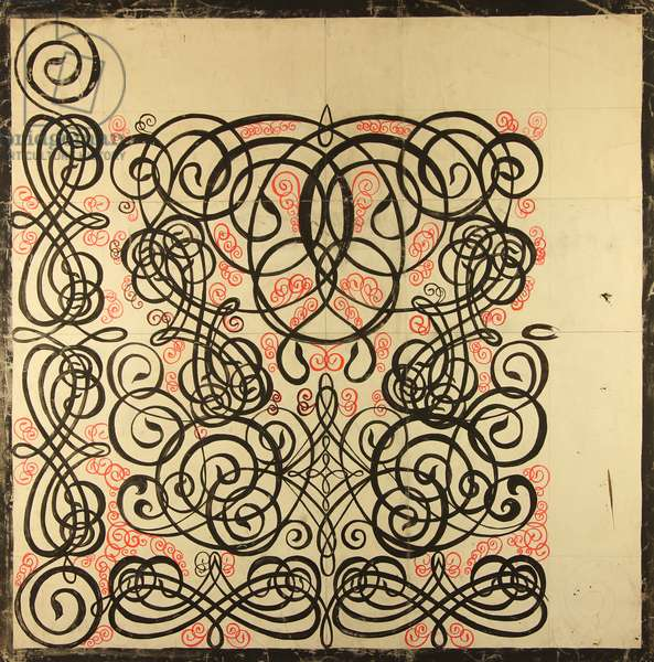 Design sketch for a scarf, 1976 (gouache on paper)