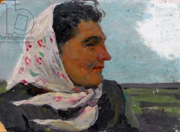 Kolkhoz woman, 1952 (oil on card)