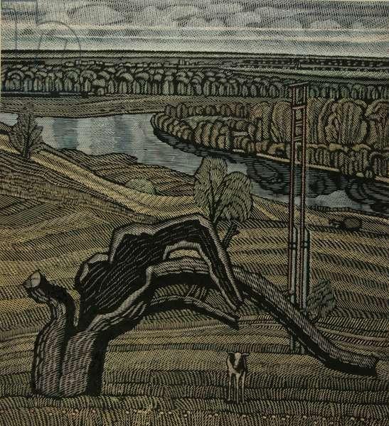 Devitsa River, 1990 (linocut & w/c)