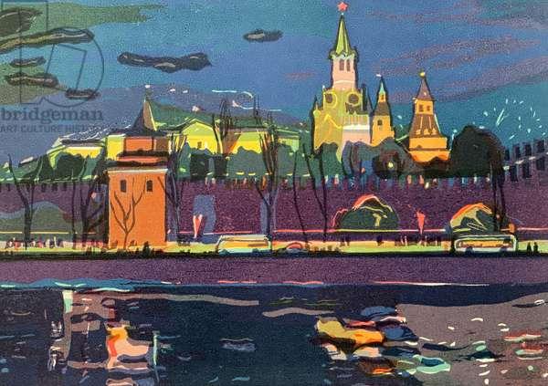 Fireworks over the Kremlin, 1970s (colour litho)