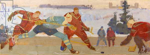 Hockey Players, 1960 (tempera on card)