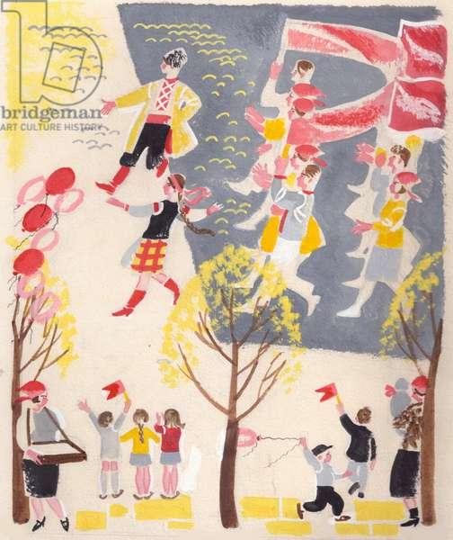 Illustration from 'Girls' by Vera Smirnova, 1959 (gouache on paper)