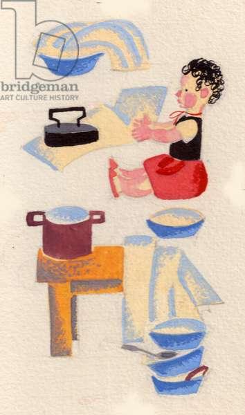 Illustration from 'Ala-bala-portocala' by Liviu Deleanu, 1969 (gouache on paper)