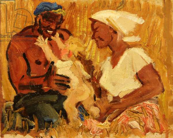 Family - Kolkhoz Workers at Virgin Lands, 1959 (oil on card)