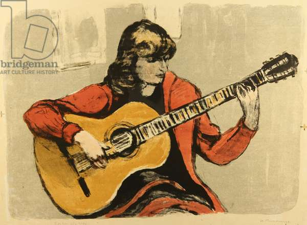 Playing the Guitar, 1967 (colour litho)