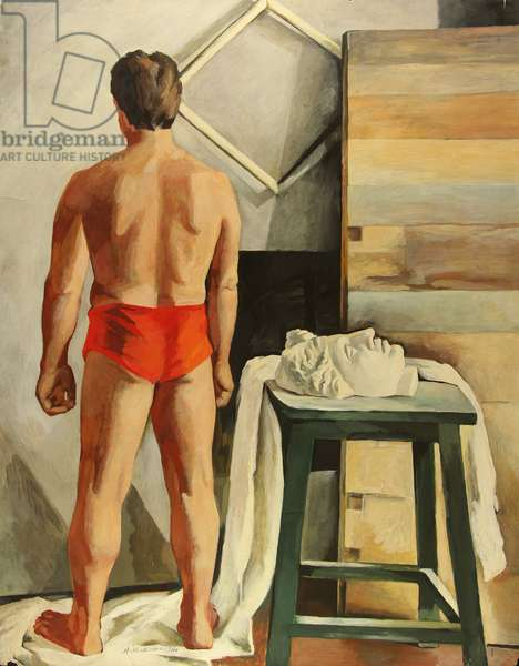 Male Model with Bust, 1970s (tempera on paper)