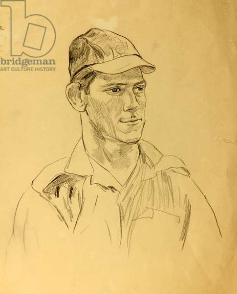 A Cuban Soldier on Playa Giron, 1962 (pencil on paper)