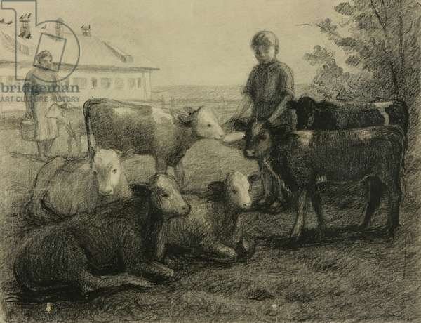 Feeding the Calves in the Kolkhoz, 1950s (litho)