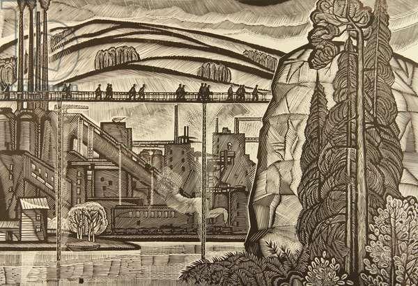 Beloretsky Metallurgical Plant, 1967 (linocut)