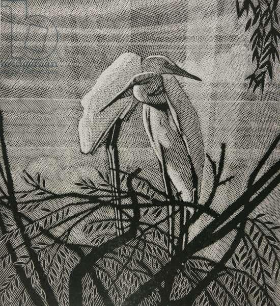Storks, 1999 (linocut)
