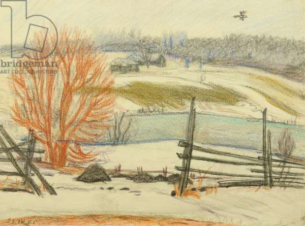 Winter Landscape, 1985 (pastel on paper)