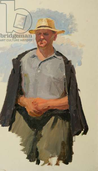 Man in Straw Hat, 1950s (oil on card)