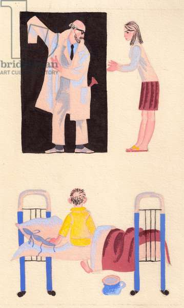 Illustration from 'Sit Down and Listen' by Silva Kaputikyan, 1969 (gouache on paper)