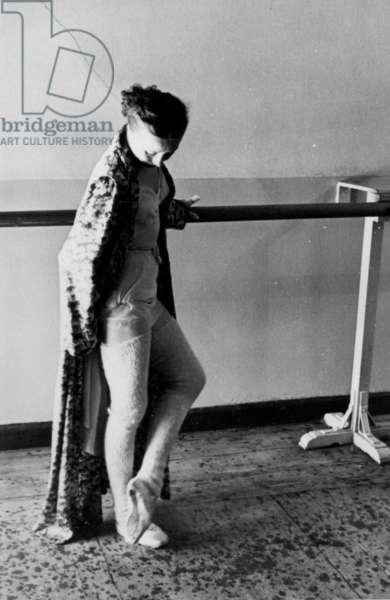 Galina Ulanova by the barre at the Bolshoi Theatre, Mosocw, 1970s (b/w photo)