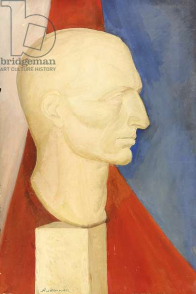 Bust on Blue and Red Background, 1974 (tempera on paper)