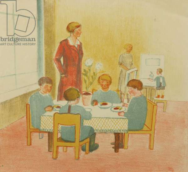Socialist Kindergarten, 1924 (colour litho)