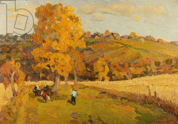 Landscape with Cows, 1960s (oil on card)