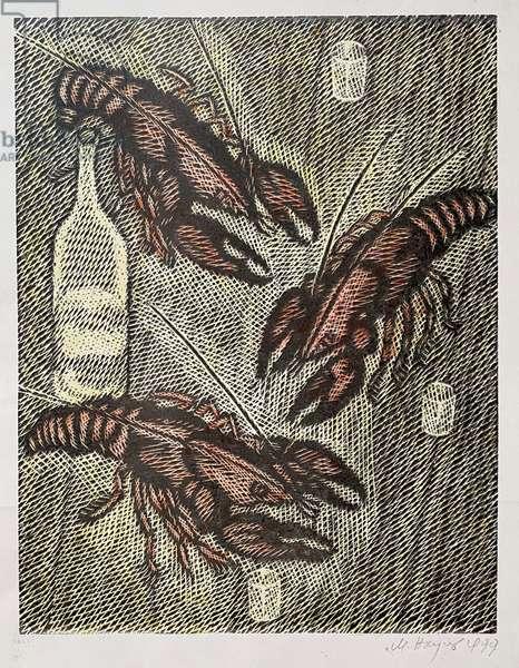Crayfish, 1999 (linocut, w/c)