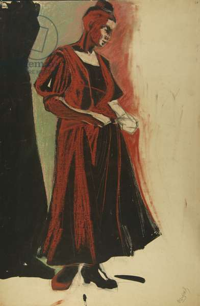 Study of a young woman, c.1950 (tempera on paper)