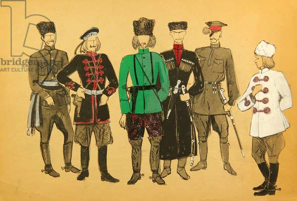 Costumes Designs for 'The Road to Calvary', Aleksey Tolstoy, 1935, 1969 (gouache on paper)