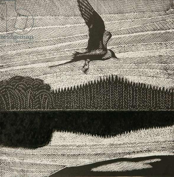 In Flight, 2003 (linocut)