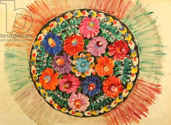 Transcarpathinan Textile, 1961 (tempera on paper)