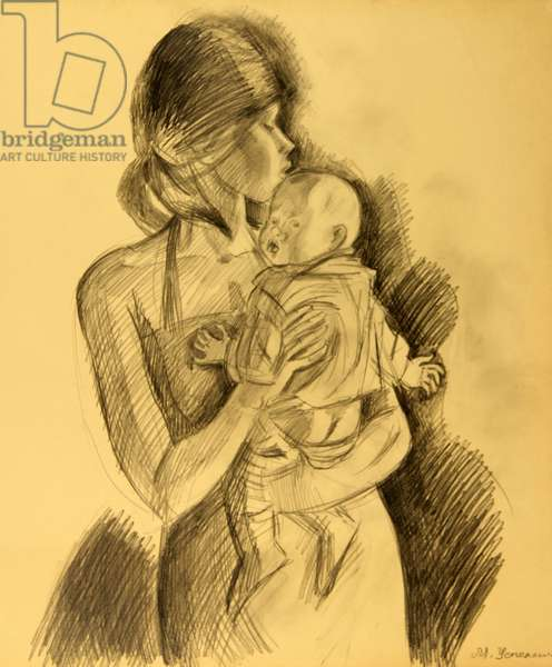 Mother and Child, 1981 (pencil on paper)