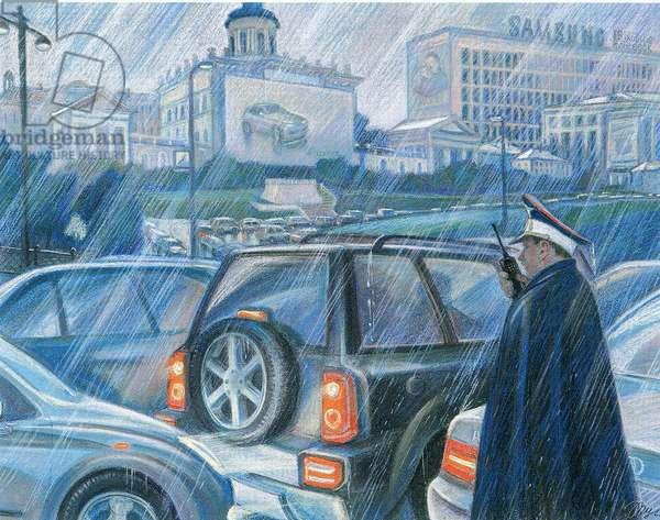 Moscow Traffic Jam, 2008 (colour litho)