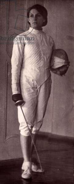 Female Fencer, 1962 (b/w photo)