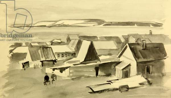 The Nikolskoe Settlement on the Bering Island, 1961 (Indian ink on paper)
