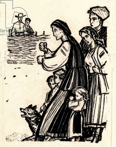 """Illustration from 'Kaidash's Family"""", Ivan Nechuy-Levytsky, 1878, 1974 (gouache on paper)"""